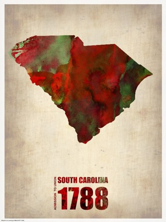 PAL South Carolina Watercolor Map Poster Print by Naxart (18 x 24) at Sears.com