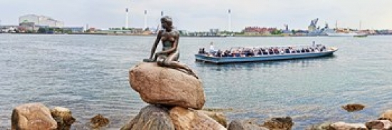 Liebermans Little Mermaid Statue with tourboat in a canal, Copenhagen, Denmark Print by at Sears.com